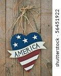 Vintage Wooden Patriotic Heart...