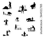 silhouettes farmer shape vector ... | Shutterstock .eps vector #564521785