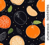 orange fruits seamless pattern... | Shutterstock .eps vector #564545986