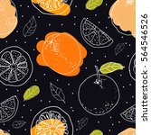 orange fruits seamless pattern... | Shutterstock .eps vector #564546526
