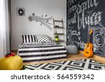 monochrome bedroom interior for ... | Shutterstock . vector #564559342