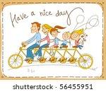 Happy Family Riding A Tandem...