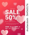 bright sales flyer with hearts... | Shutterstock .eps vector #564563176