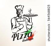 italian chef holding pizza ... | Shutterstock .eps vector #564568825