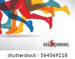 running people set of... | Shutterstock .eps vector #564569218