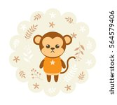 monkey. vector illustration... | Shutterstock .eps vector #564579406