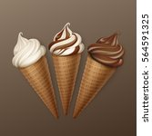 vector set of brown chocolate... | Shutterstock .eps vector #564591325