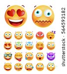 set of cute emoticons on white... | Shutterstock .eps vector #564593182
