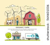 organic farm. milk production.... | Shutterstock .eps vector #564601036