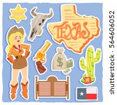 hand drawn cowboy icons set... | Shutterstock .eps vector #564606052