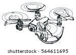 hand draw vector sketch of drone | Shutterstock .eps vector #564611695