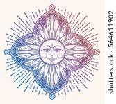 intricate hand drawn ornate sun ... | Shutterstock .eps vector #564611902