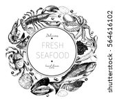 hand drawn seafood logo.... | Shutterstock . vector #564616102