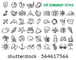 Vector Doodle Summer Icons Set...