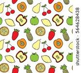 hand drawn fruits seamless...   Shutterstock .eps vector #564628438