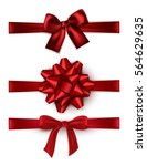 set of shiny red satin bow... | Shutterstock .eps vector #564629635