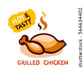 hot and tasty chicken grilled... | Shutterstock .eps vector #564634402