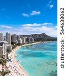 waikiki beach and diamond head... | Shutterstock . vector #564638062