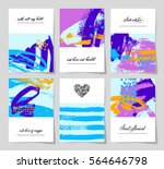 set of 6 abstract painting... | Shutterstock .eps vector #564646798