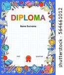 kids diploma blue certificate... | Shutterstock .eps vector #564661012