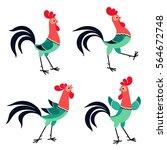 vector set of cartoon rooster...   Shutterstock .eps vector #564672748