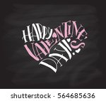 hand drawn valentines day text... | Shutterstock .eps vector #564685636