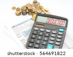 calculator with red text on... | Shutterstock . vector #564691822