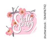 hello spring lettering on... | Shutterstock .eps vector #564696742