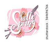 hello spring lettering on... | Shutterstock .eps vector #564696766