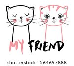 Stock vector cute cats friendly cats cats illustration 564697888