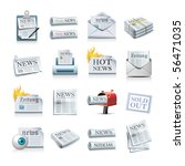 newspaper icons - stock photo