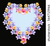 floral heart with small flowers.... | Shutterstock . vector #564715966