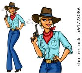 pretty cowgirl holding smoking... | Shutterstock .eps vector #564728086