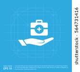 medicine kit hand icon  | Shutterstock .eps vector #564731416