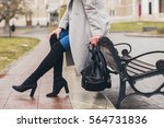 Young Stylish Woman Walking In...