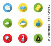 cleaning set icons in flat... | Shutterstock .eps vector #564734962