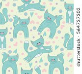 cute seamless pattern with cats ... | Shutterstock .eps vector #564737302