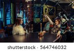 20s style concept. two pretty... | Shutterstock . vector #564746032