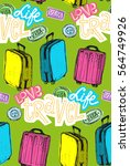 hand drawn travel pattern.... | Shutterstock .eps vector #564749926