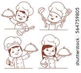 set with cute cartoon kids as... | Shutterstock .eps vector #564759805