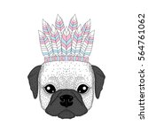cute french bulldog with war... | Shutterstock .eps vector #564761062