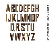 english alphabet made of wooden ... | Shutterstock .eps vector #564765055