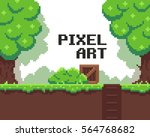 pixel art background with grass ... | Shutterstock .eps vector #564768682