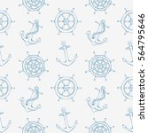 sea pattern with steering ship... | Shutterstock . vector #564795646