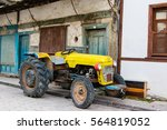 Old Red Rusty Yellow Tractor I...
