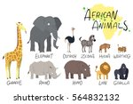 illustration of african animals | Shutterstock .eps vector #564832132