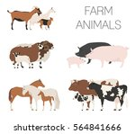 farm animall family collection. ... | Shutterstock .eps vector #564841666