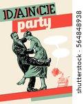 retro dance party poster...   Shutterstock .eps vector #564848938
