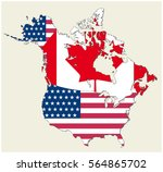 map of the states of canada and ... | Shutterstock .eps vector #564865702