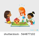 three young smiling girls sit... | Shutterstock . vector #564877102